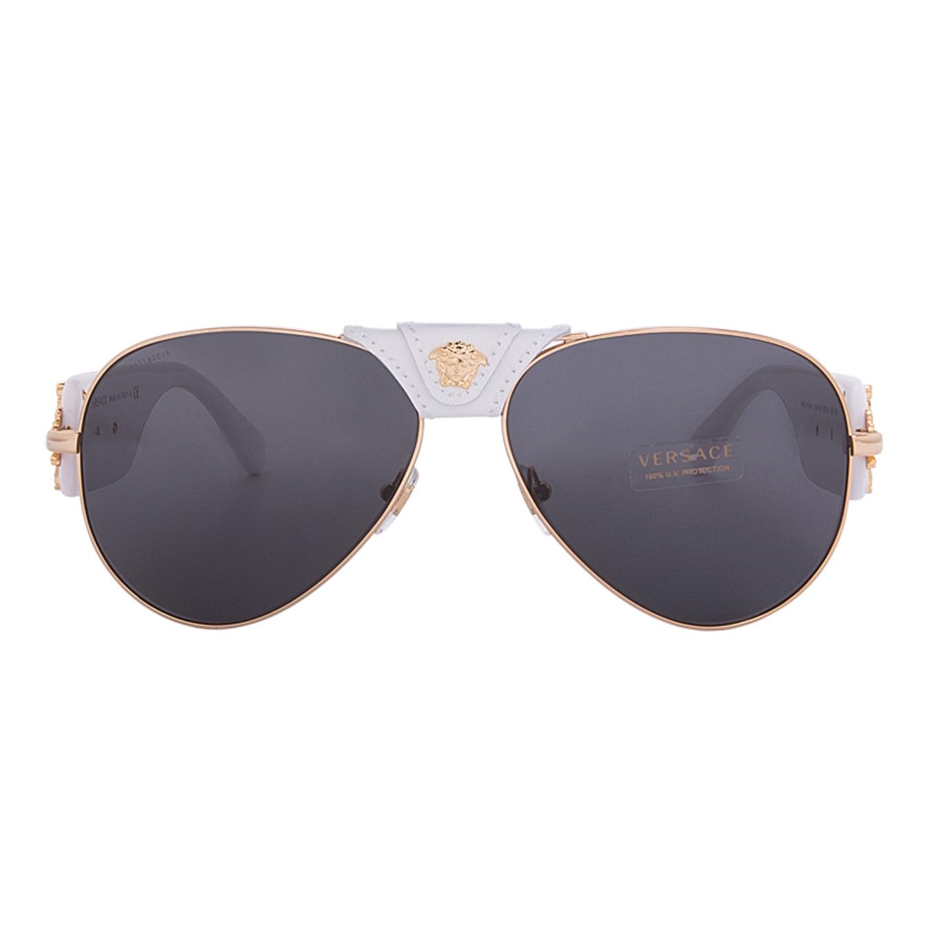 Frame glasses versace - Versace 2150q Medusa Sunglasses 1341 87 62 White Gold Leather Frame Grey Lenses