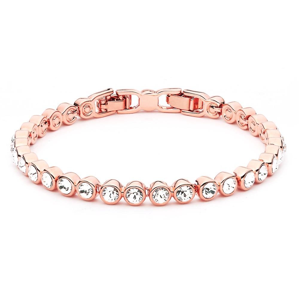 tennis bracelet rose gold w swarovski crystals gp wedding. Black Bedroom Furniture Sets. Home Design Ideas