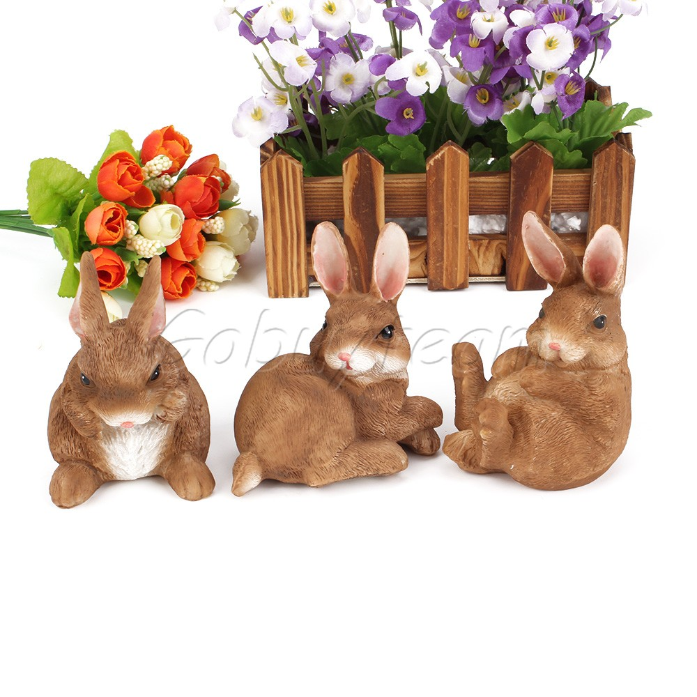 3x decorative garden ornaments resin crafts rabbit for Rabbit decorations home