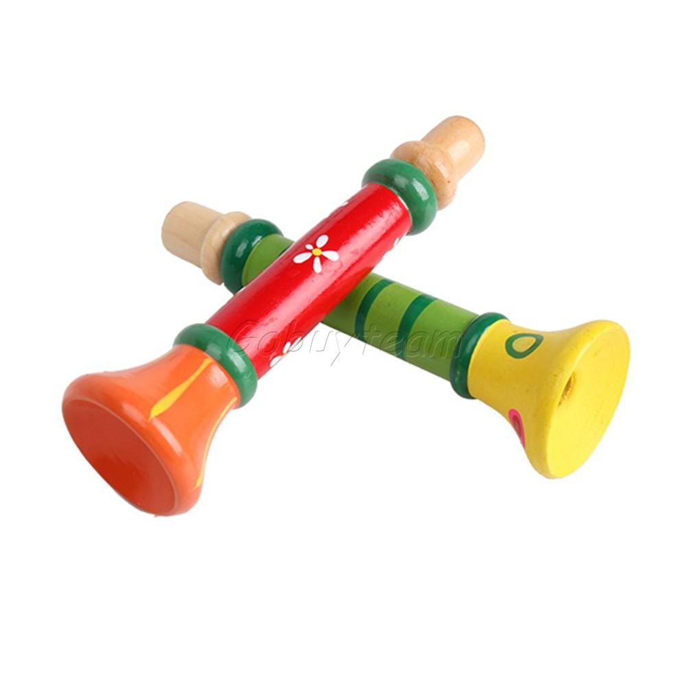Toy Musical Horns : Interesting baby kids wooden horn hooter trumpet