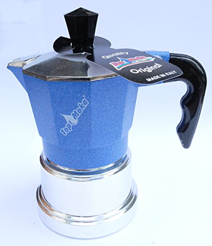 Blue Italian Coffee Maker : Top Moka - Stovetop Espresso Maker - Aluminium - 1 Cup - Light Blue/Silver eBay