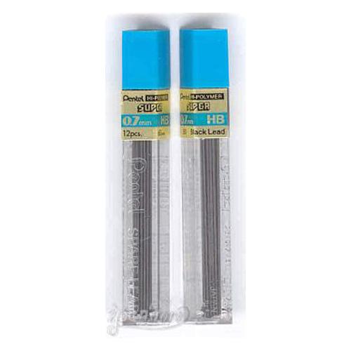 2-Tubes-PENTEL-Super-Hi-Polymer-Lead-0-7-mm-HB