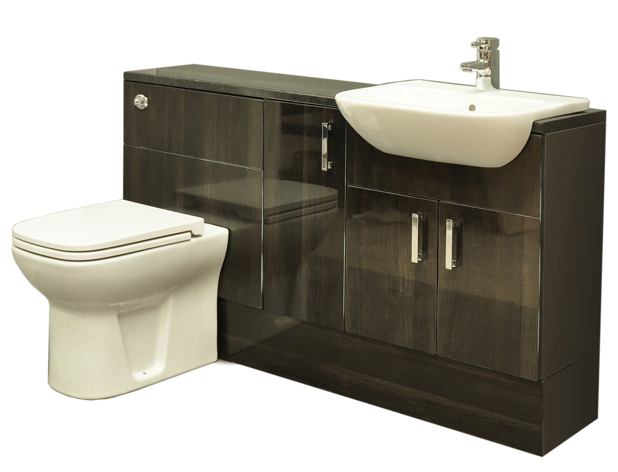 Model Coast Designer Grey Gloss Bathroom Furniture Collection  Tall Storage
