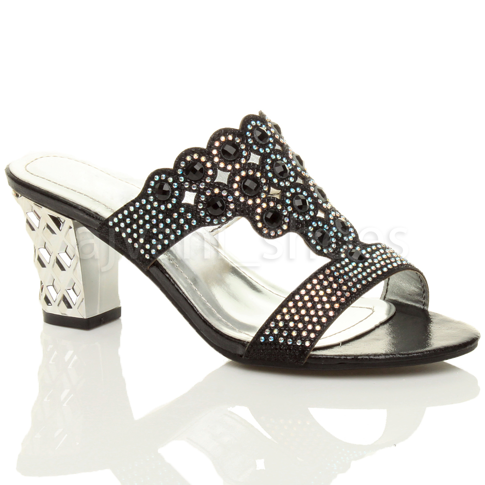 femmes talon moyen d couper strass soir e mules chaussons sandales pointure. Black Bedroom Furniture Sets. Home Design Ideas