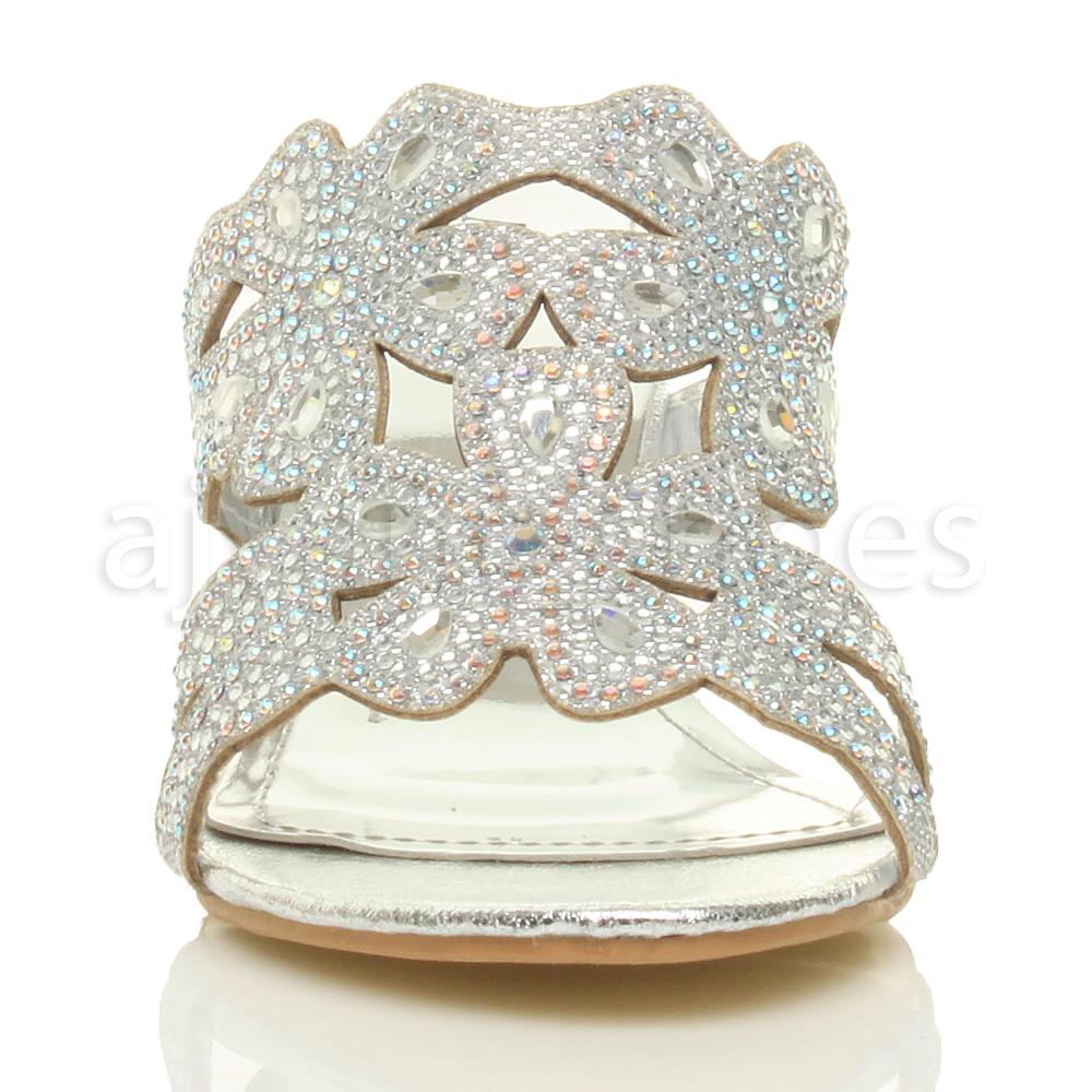 femmes talon compens moyen d couper strass mules chaussons sandales pointure ebay. Black Bedroom Furniture Sets. Home Design Ideas
