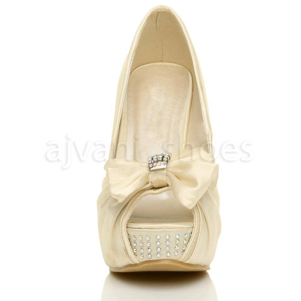 femmes mariage noeud elegant talon haut compense bout - Chaussure Compense Mariage