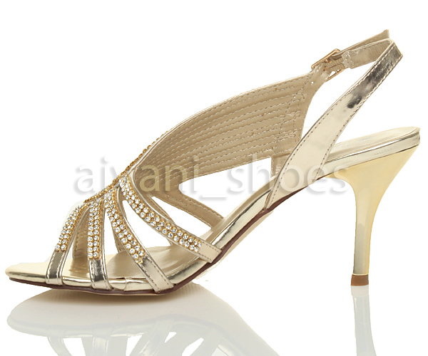 damen stra steine slingback glitzersteinen hochzeit abend welle sandalen gr e ebay. Black Bedroom Furniture Sets. Home Design Ideas