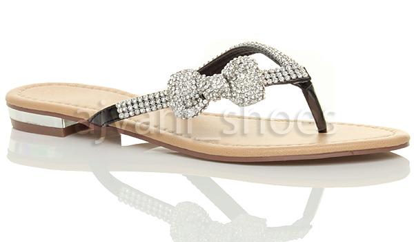 damen strass schleife sommer strandhochzeit abend zehentrenner sandalen gr e ebay. Black Bedroom Furniture Sets. Home Design Ideas