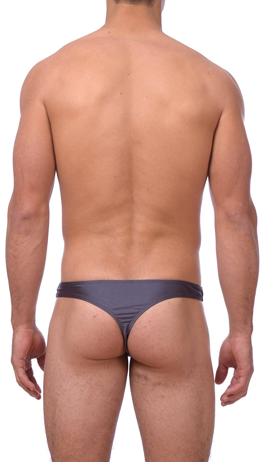 Mens Solid Contrast Stitch Thong Swimsuit Gary Majdell Sport