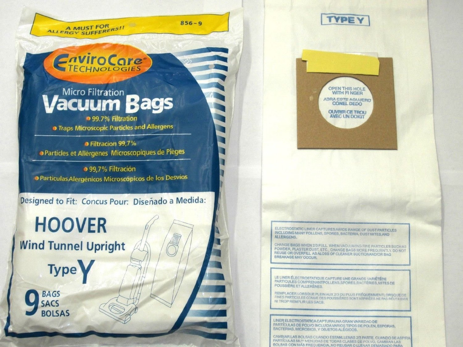Envirocare Hoover Part#4010100Y - Type Y Vacuum Bag Replacement for Hoover WindTunnel Uprights and Hoover Vacuums Using Type Y or T at Sears.com