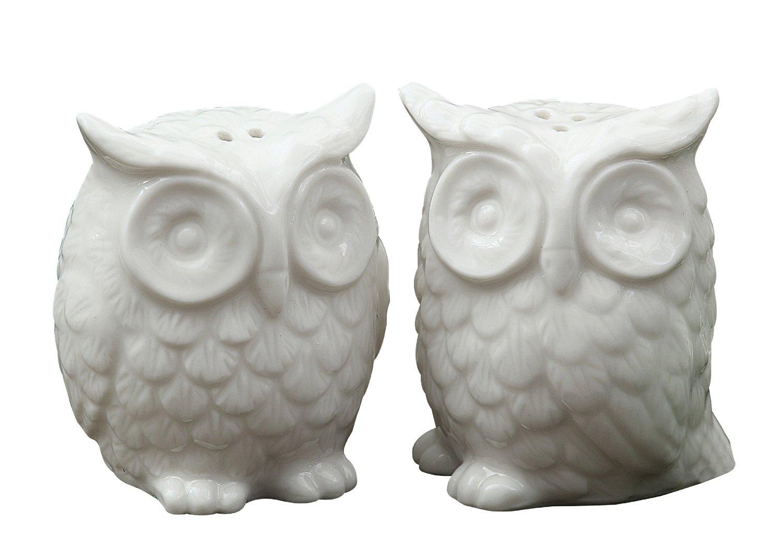 Creative Co Op Ceramic Owl Salt And Pepper Shaker Set Of 2