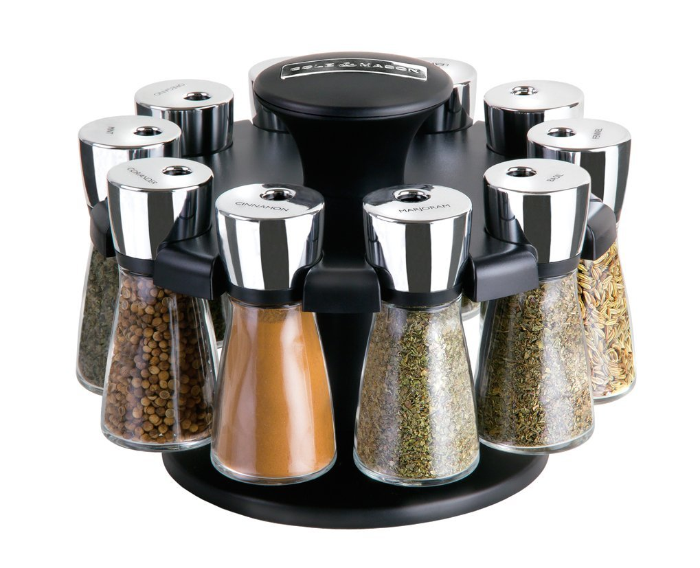 cole mason herb and spice carousel rack with 10 glass jars and spices ebay. Black Bedroom Furniture Sets. Home Design Ideas