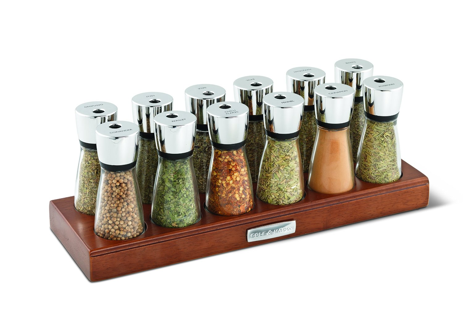 cole and mason wood spice rack with glass jars 12 jar brown ebay. Black Bedroom Furniture Sets. Home Design Ideas