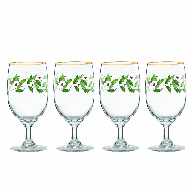Lenox holiday iced beverage glasses set of 4 ebay for Holiday stemware
