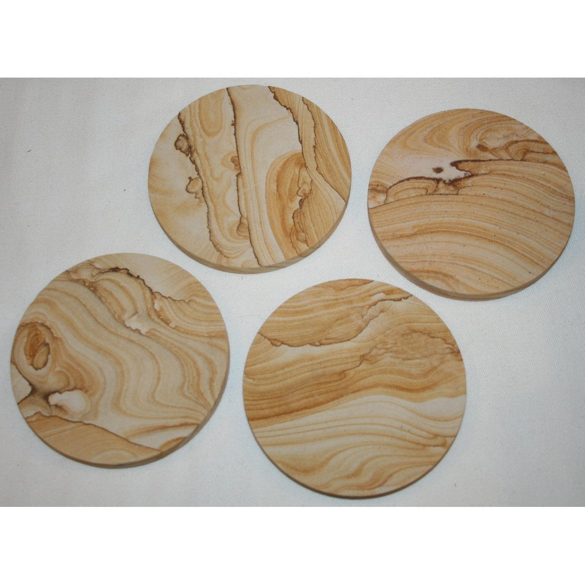 Natural sandstone coasters set of 4 ebay - Stone absorbent coasters ...