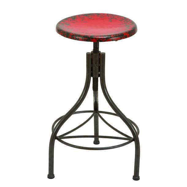 Vintage Bar Stool Industrial Metal Design Wood Top Adjustable Height ...
