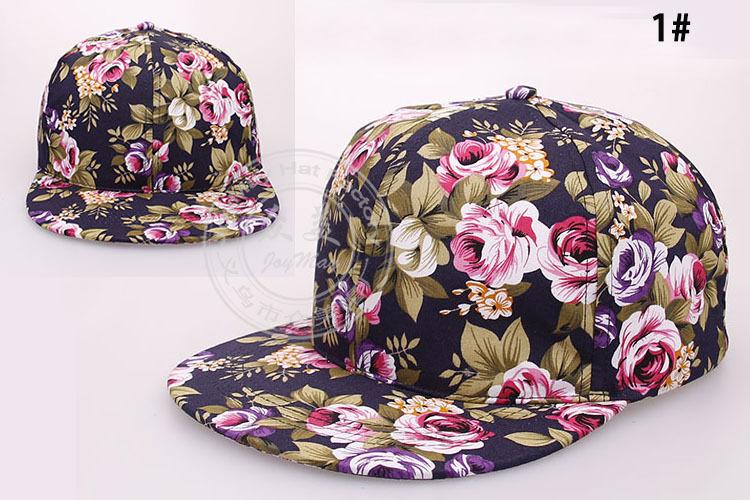 Hip Hop Vintage Flower Baseball Flat Peaked Adjustable Snapback Cap Hat Colors
