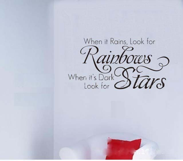 Rainbow stars quote letter elegant room decals decor mural for Decoration quotation sample