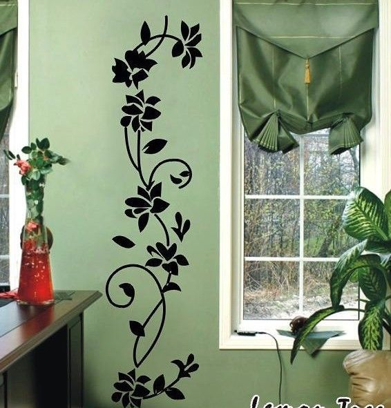 Pindia Black Flower Design Wall Sticker: Classical Black Flower Vine Room Decor Decals Removable