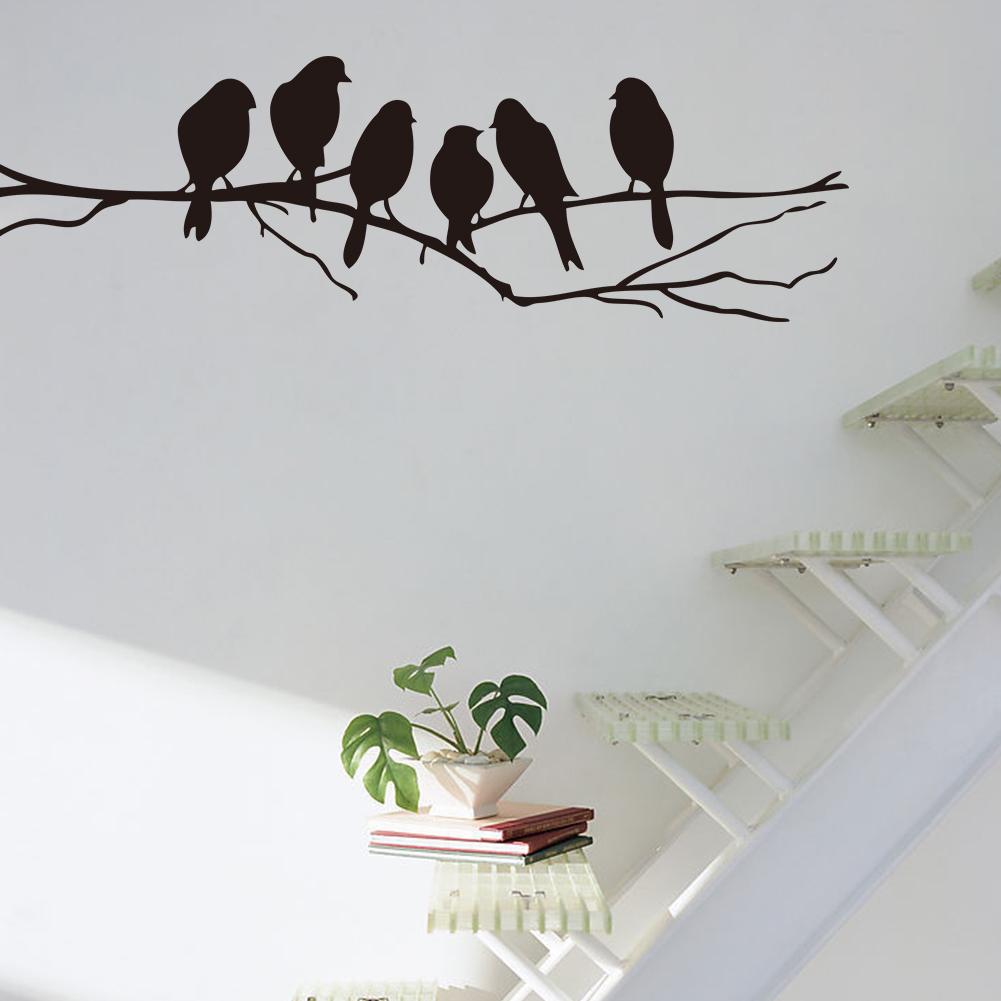 Tree branch bird removable pvc decal art mural home decor for Bird mural wallpaper