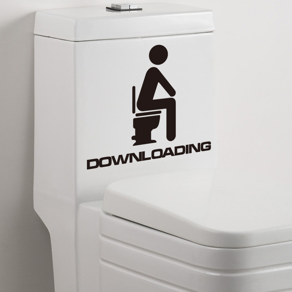 funny cute men downloading washroom toilet waterproof bathroom diy, Home decor