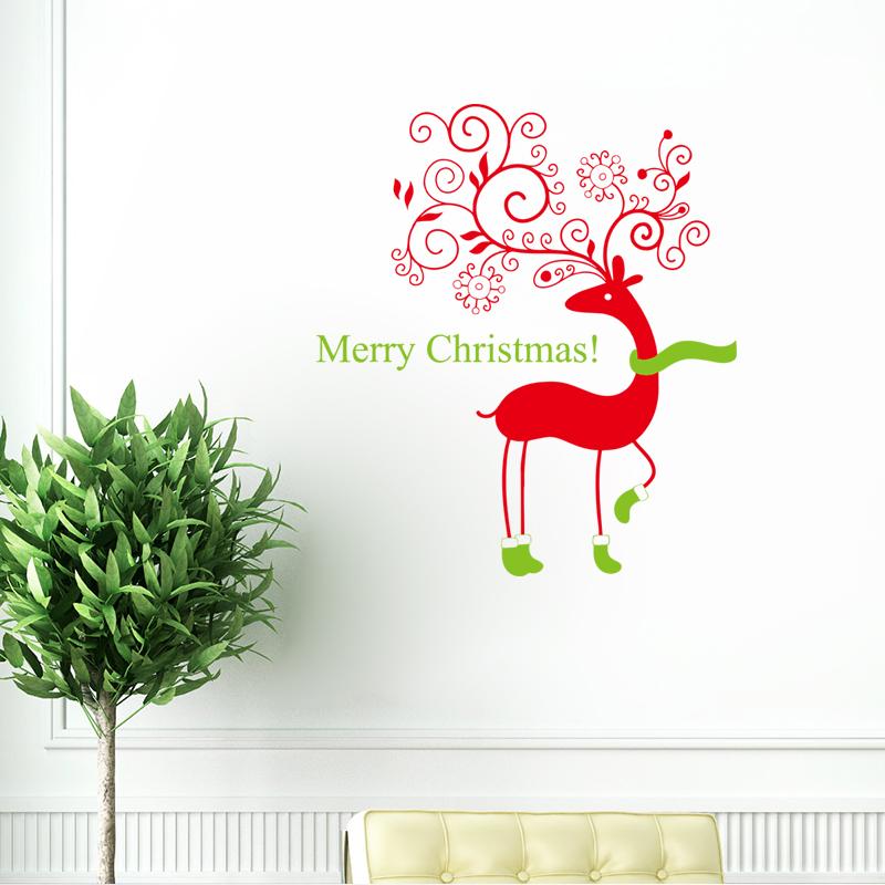 Christmas deer merry christmas waterproof vinyl decor for Christmas wall mural