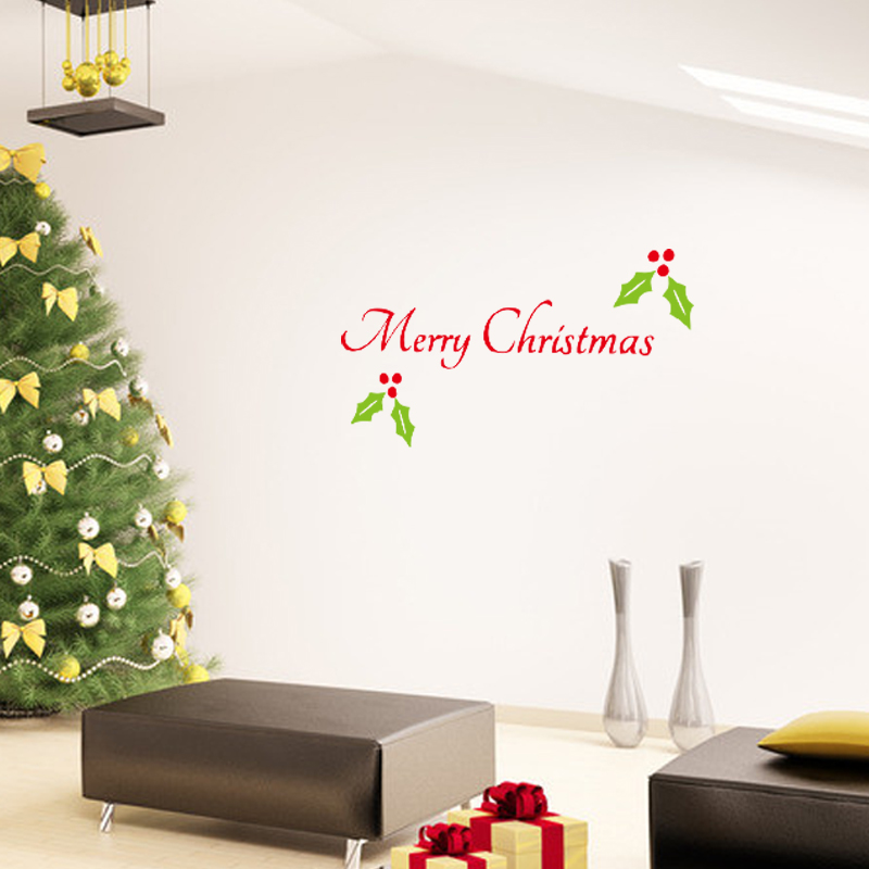 English merry christmas glass and wall sticker beautiful for Christmas wall mural