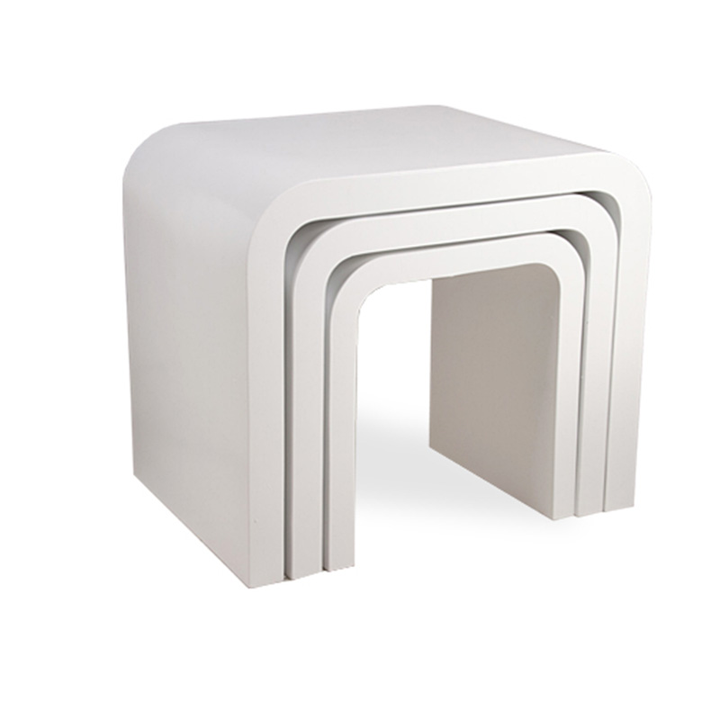 White High Gloss Side End Square 2 Seats Of Coffee Table: Modern Design High Gloss Coffee Table Nest Of 3 Side Table