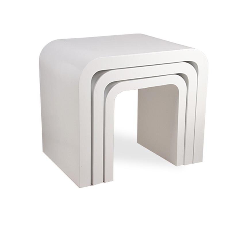 Modern Design High Gloss White White Glass Nest Of 3: WHITE DESIGN HIGH GLOSS NEST OF 3 COFFEE TABLE/SIDE TABLE