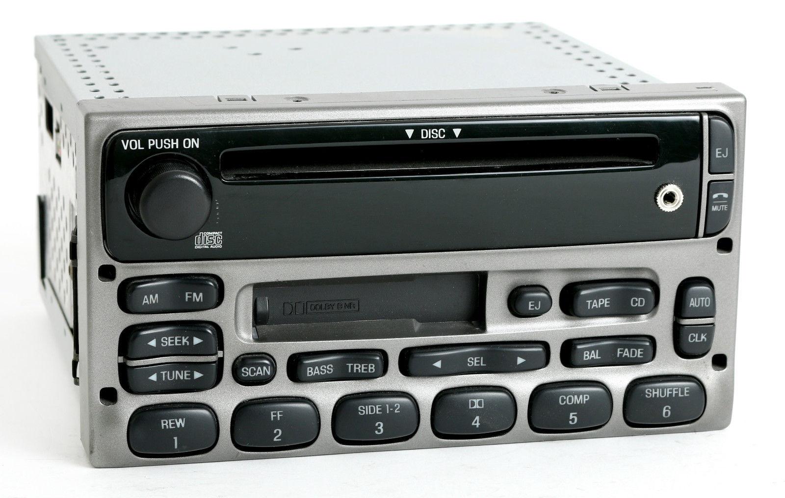 Ford 02 04 explorer sport trac radio amfm cd cassette w aux input 3l2t 18c868 bc 1 factory radio