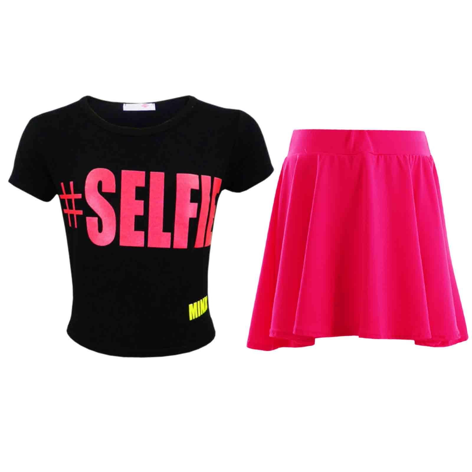 NEW GIRLS KIDS # SELFIE CROPPED TOP SUMMER CROP BLACK PINK AGE 7 8 9 10 11 12 13