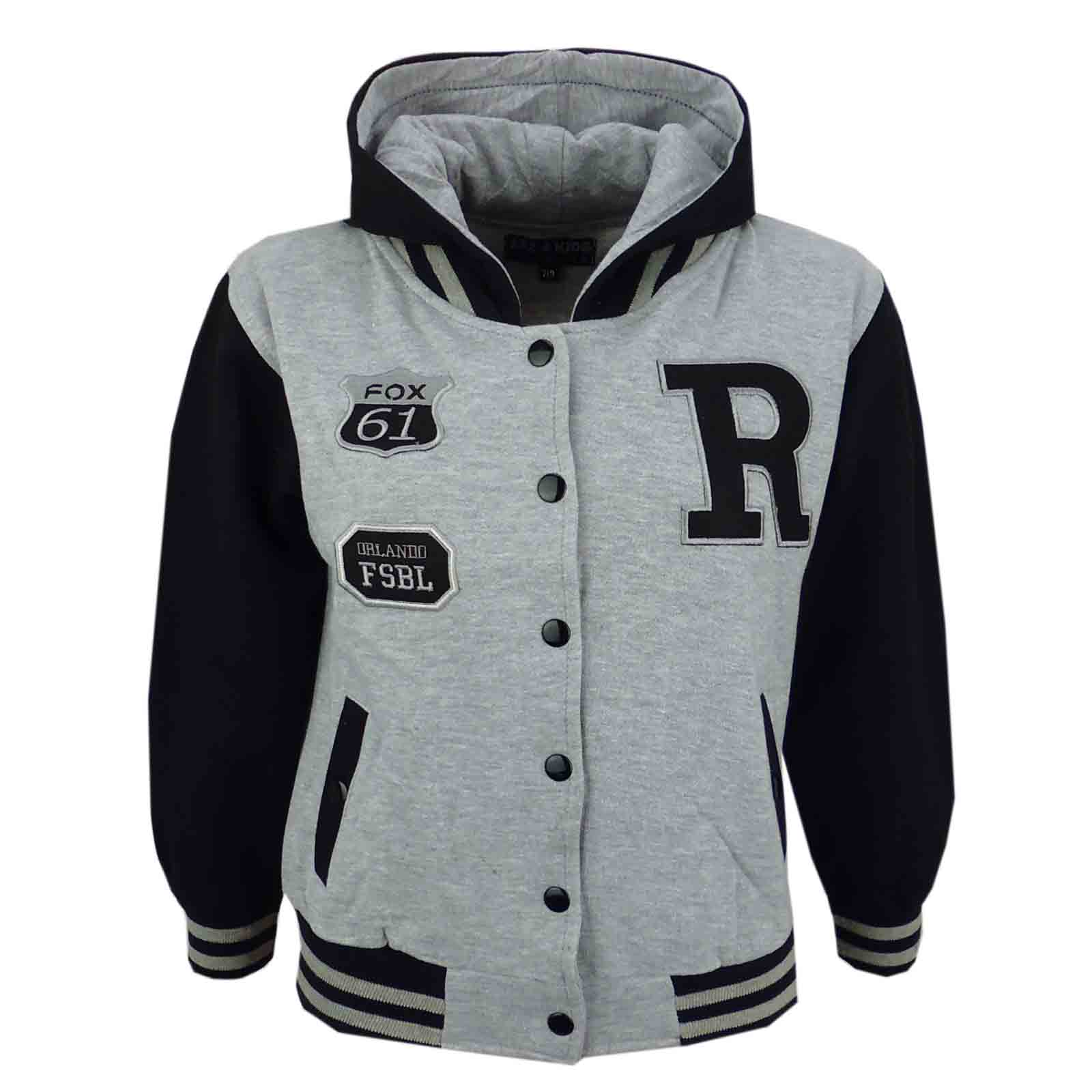 Kids Girls Boys R Fashion NYC FOX Baseball Hooded Jacket Varsity ...