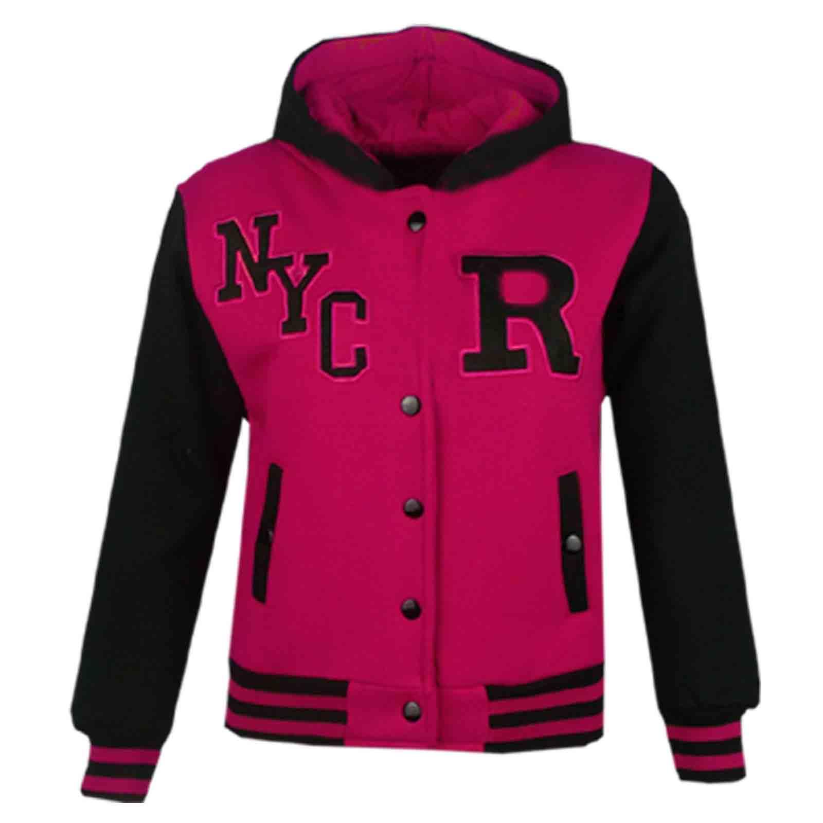 Kids Girls Boys R Fashion NYC FOX Baseball Hooded Jacket Varsity Hoodie 2-13 Yrs | EBay