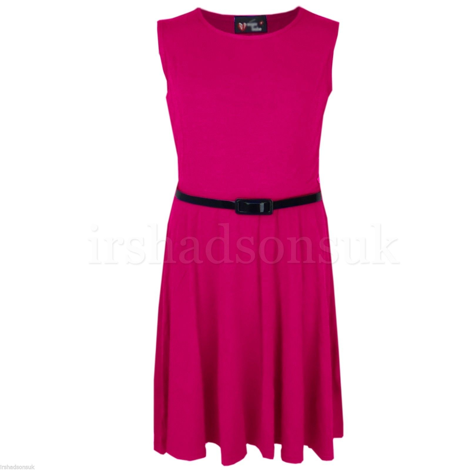 Girls-Skater-Dress-Kids-Neon-Bright-Summer-Party-Dresses-7-8-9-10-11-12-13-Years