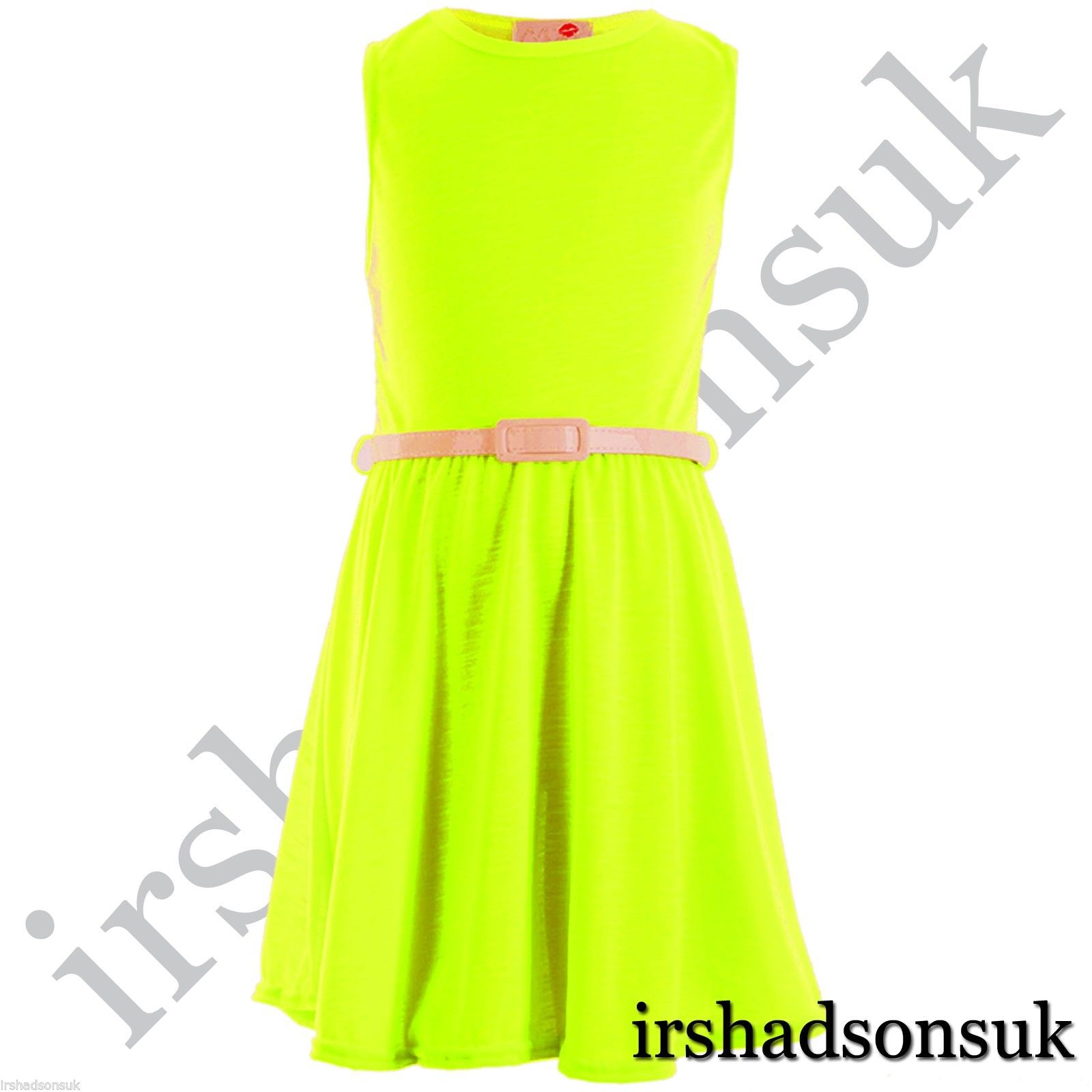 Girls Skater Dress Kids Neon Bright Summer Party Dresses 7 8 9 10 11 12 13 Years