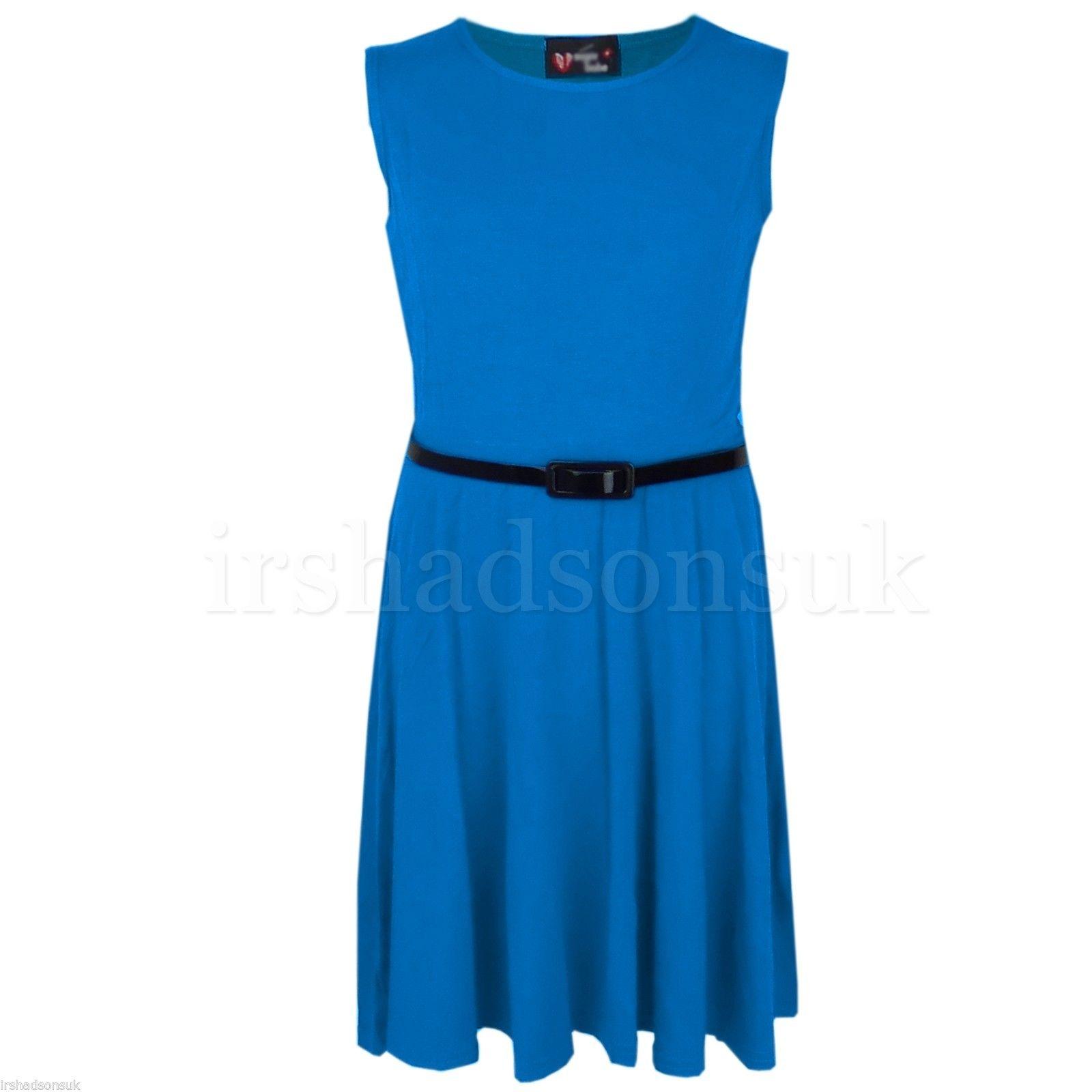 Girls Skater Dress Kids Neon Bright Summer Party Dresses 7 8 9 10 ...