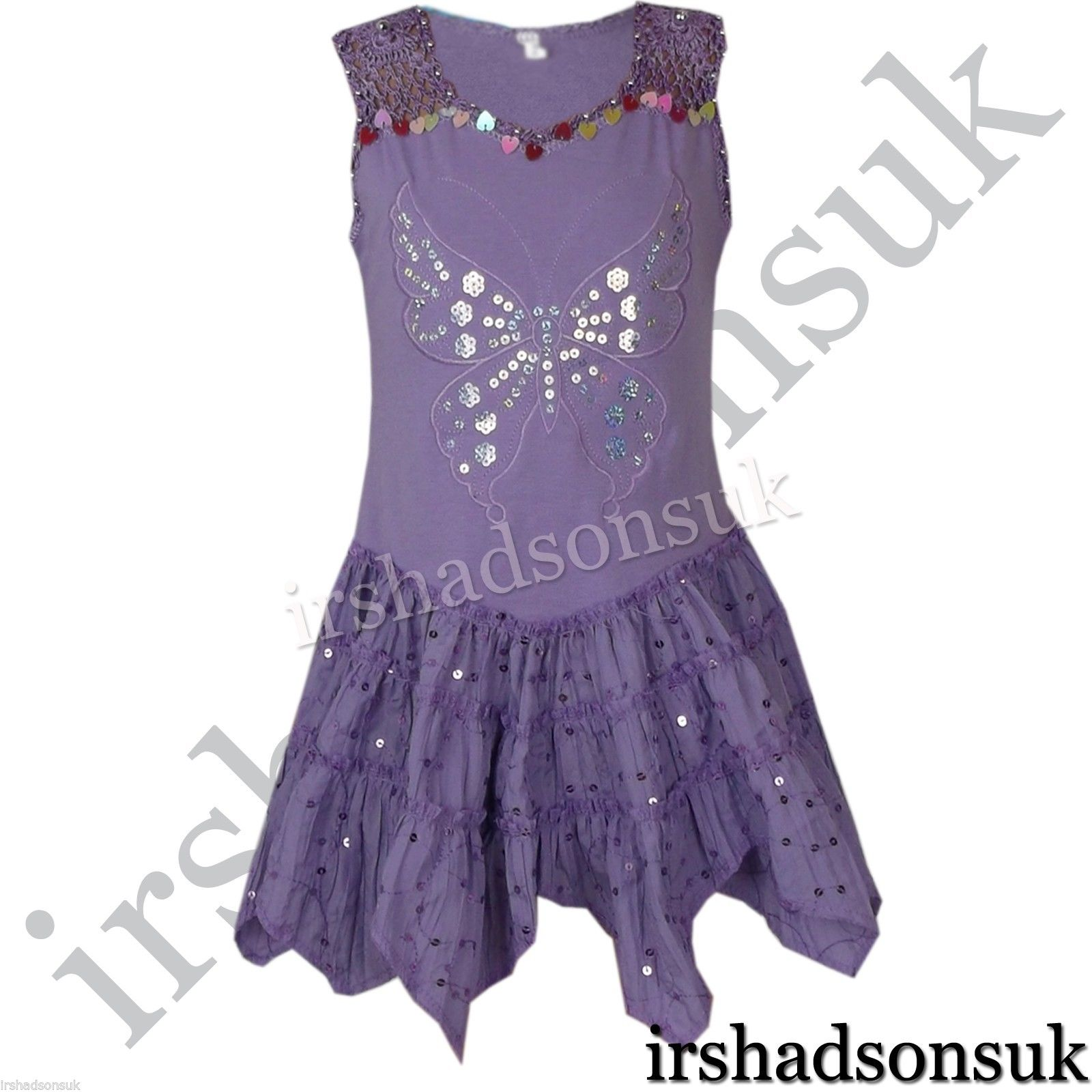 New Kids Girls Summer Dresses Sequinned Butterfly Handkerchief Dress 2-10 Years