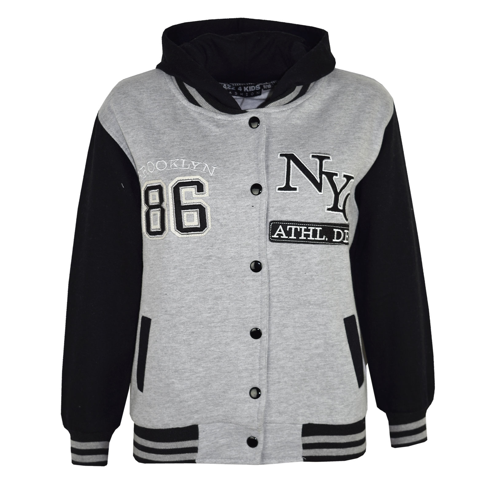 Kids Girls Boys Baseball NYC ATHLETIC Hooded Jacket Varsity Hoodie ...