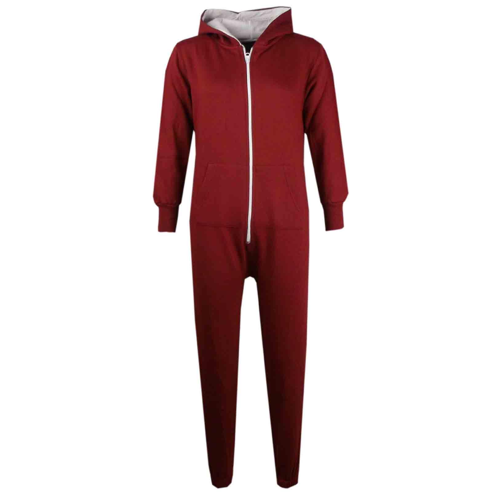 enfants filles gar ons uni couleur en polaire capuche combinaison pyjama ebay. Black Bedroom Furniture Sets. Home Design Ideas
