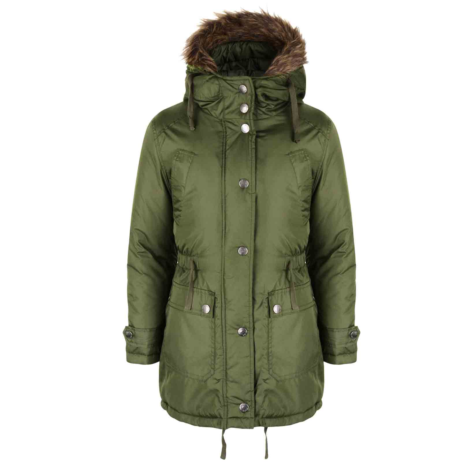 GIRLS PARKA JACKET KIDS PADDED FAUX FUR TRIM HOODED COAT AGE 7 8 9 ...