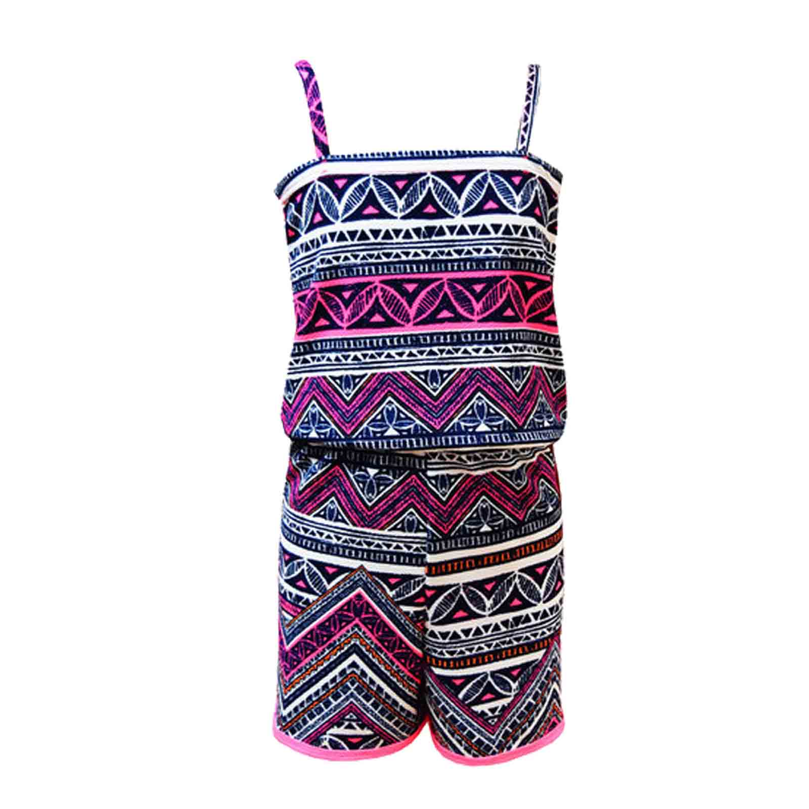 Girls Pink & Blue Aztec Tribal Print Skater Skirt Midi ...