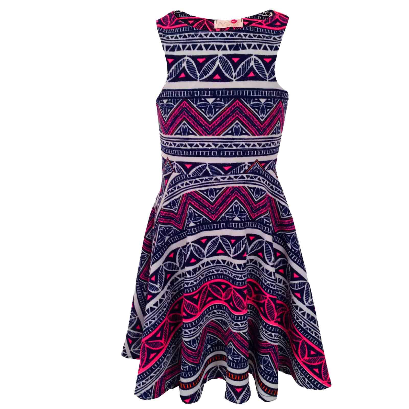 Girls Pink & Blue Aztec Tribal Print Skater Skirt Midi Dress Crop ...