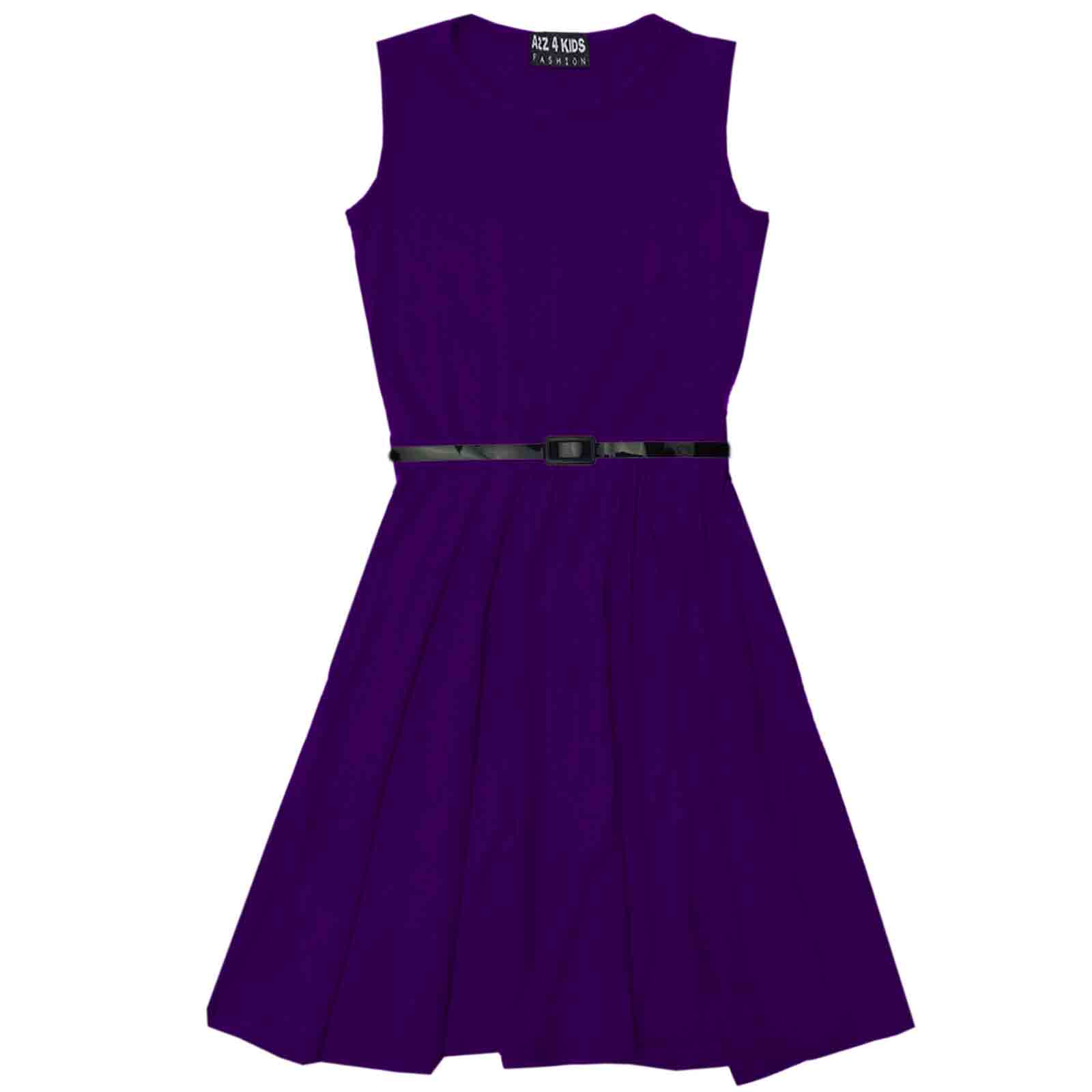 Girls Skater Dress Kids Party Dresses With Free Belt Age 7 8 9 10 11 ...