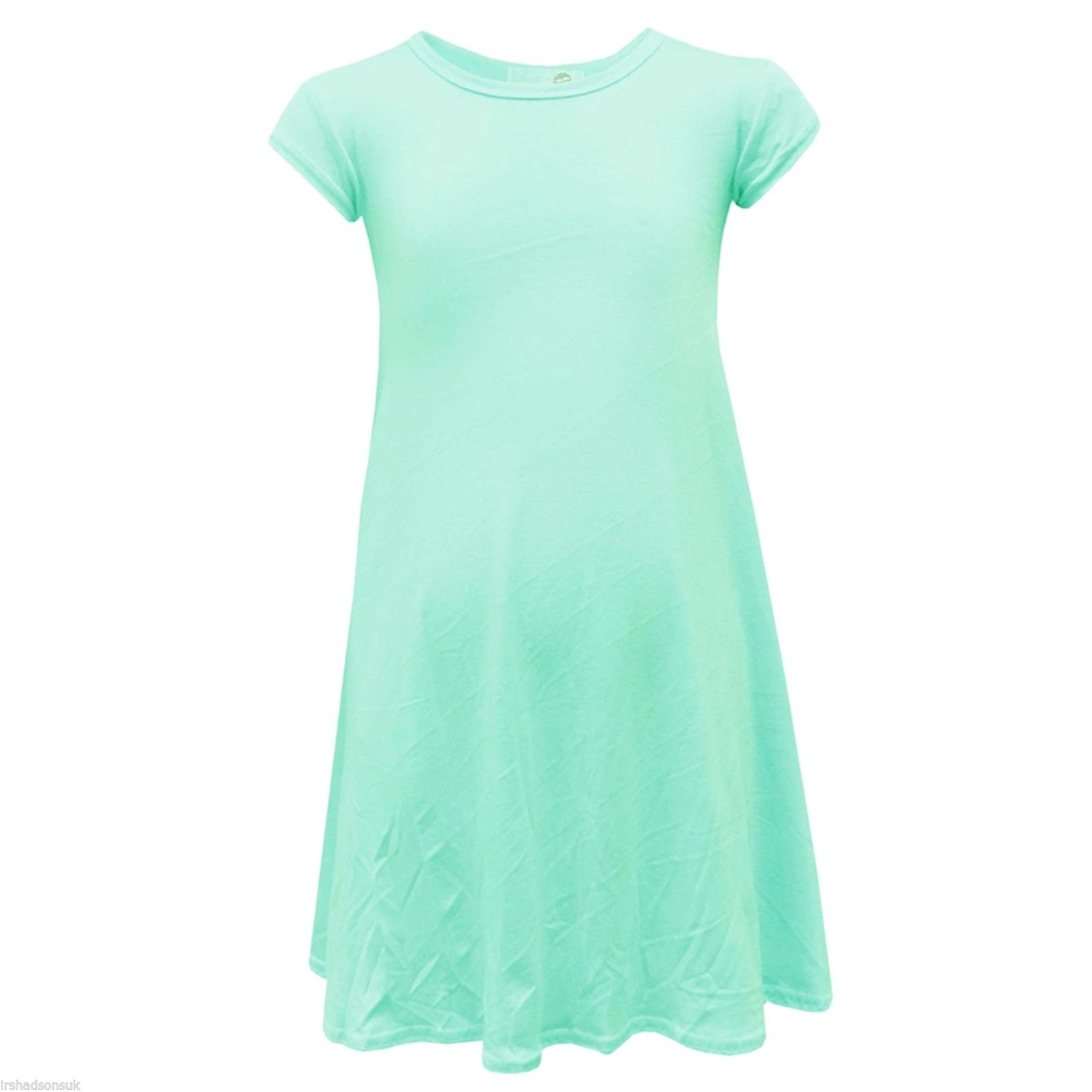 NEW KIDS GIRLS PLAIN MIDI SWING WATERFALL DRESS NEW SEASON STYLE SIZE 7-13 YEARS