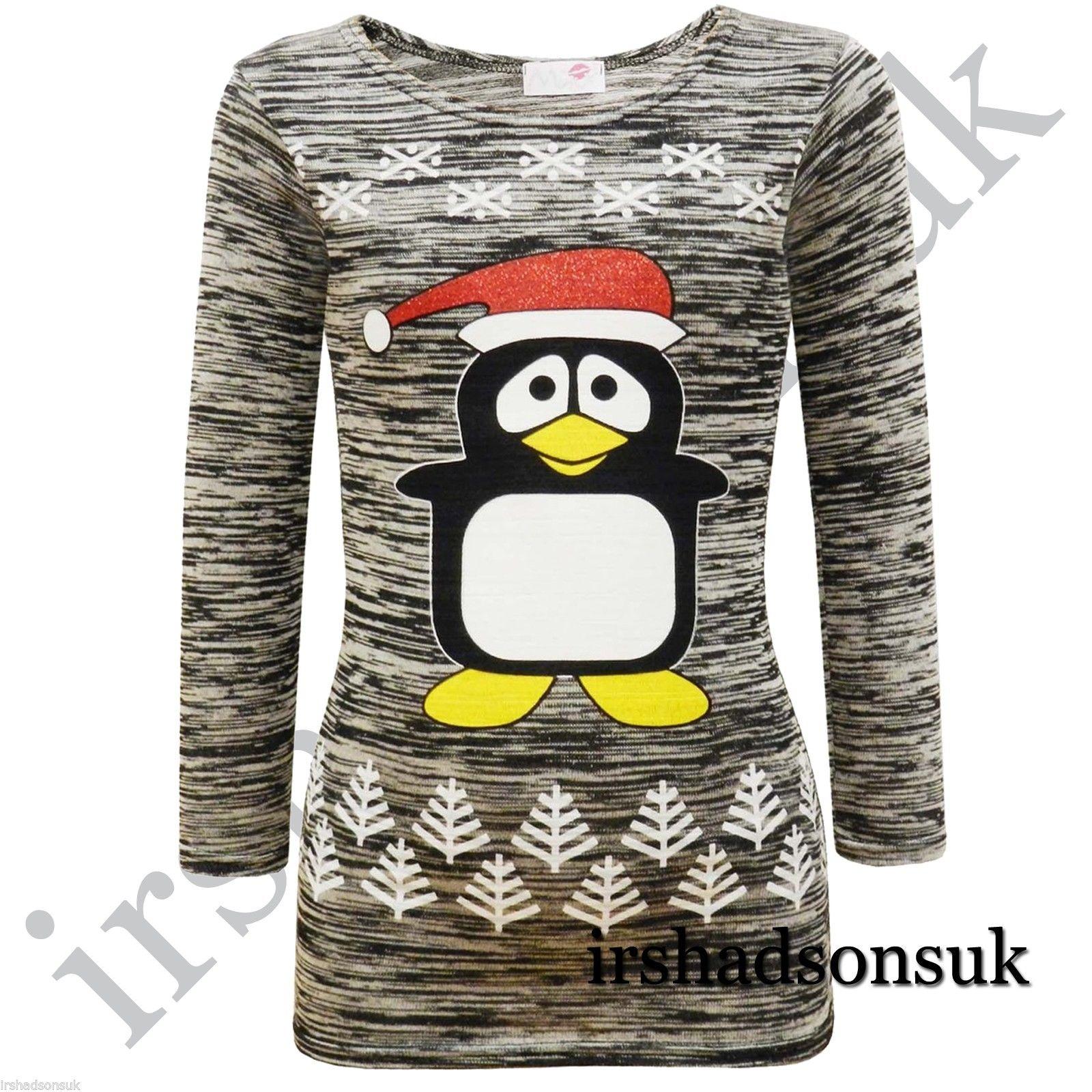 Kids Girls Snowflake Penguin Christmas Tree Santa Hat Print Fashion T shirt Top