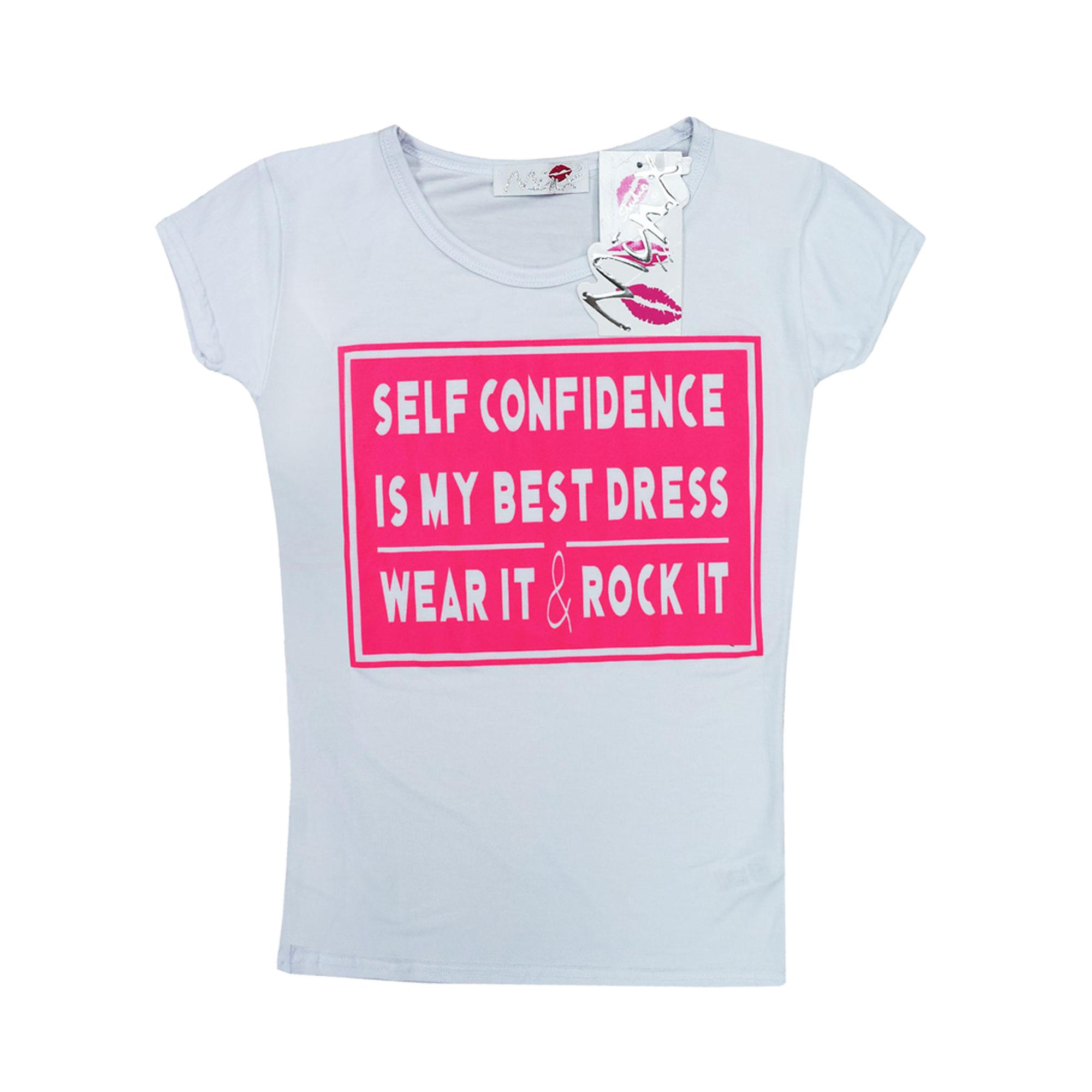 White t shirt crop top - Kids Girls New Season 034 Self Confidence 034