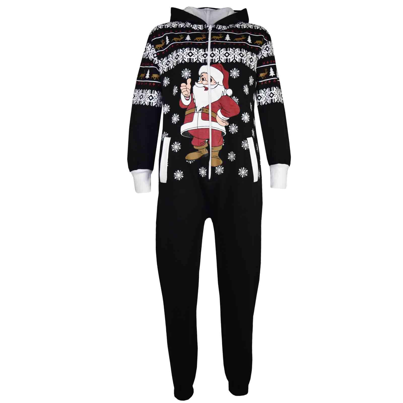 new kids girls boys novelty christmas santa reindeer onesie all in