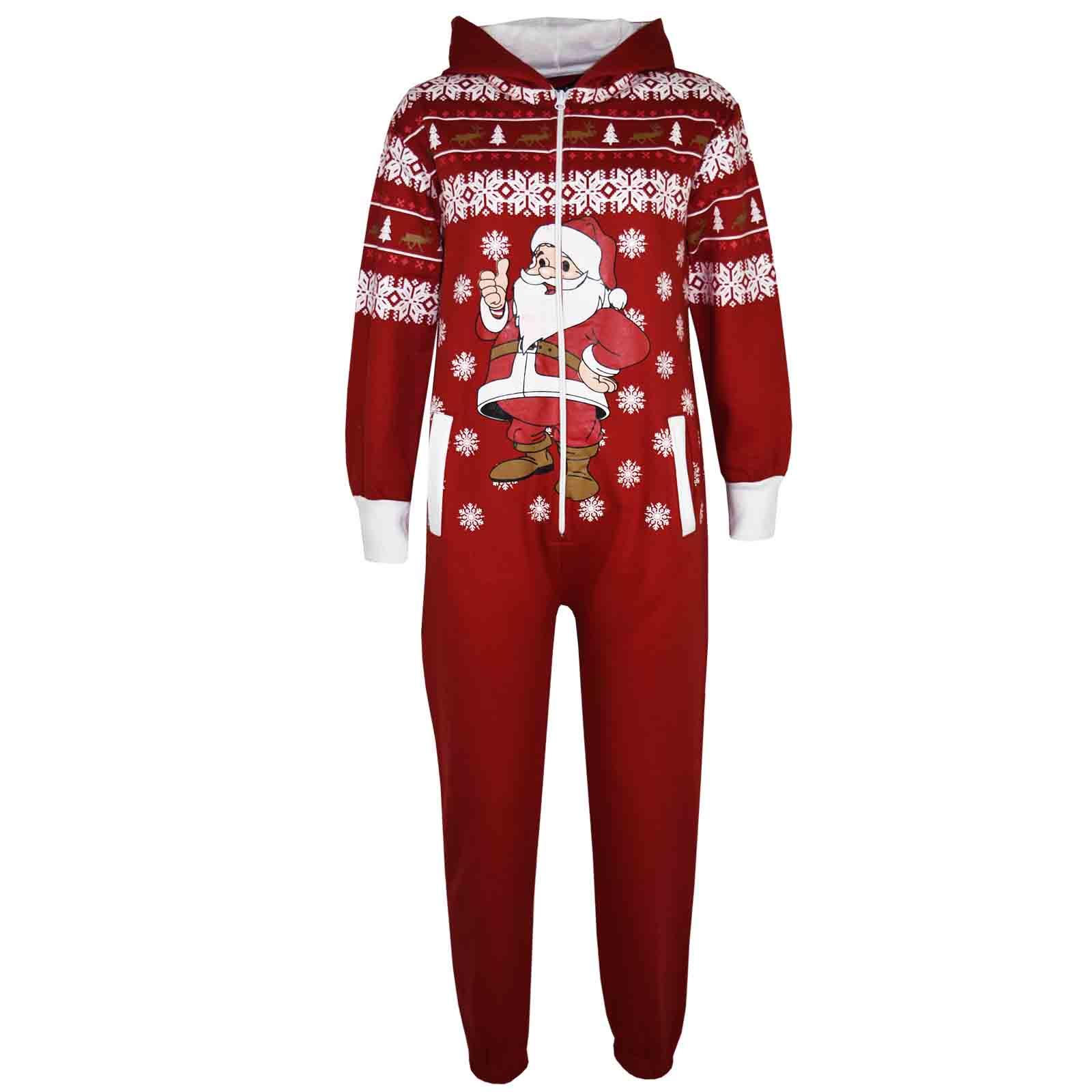 kids girls boys novelty christmas santa fleece onesie all