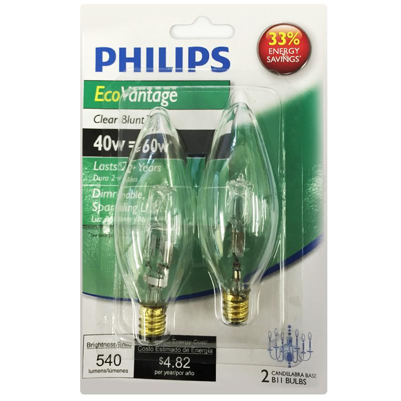 Philips 40w 120v B11 E12 Clear 2900k Halogen Decorative Light Bulb 2 Pack Ebay