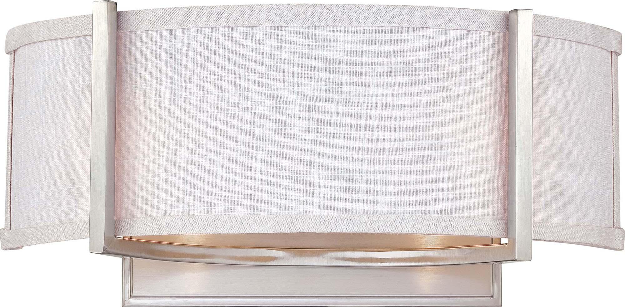 Nuvo Gemini - 2 Light Wall Sconce w/ Slate Gray Fabric Shade eBay